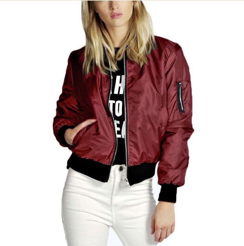Women/'s Fashion Classic Bomber Jacket Coat Clothes Outwear Zip Up Windbreaker