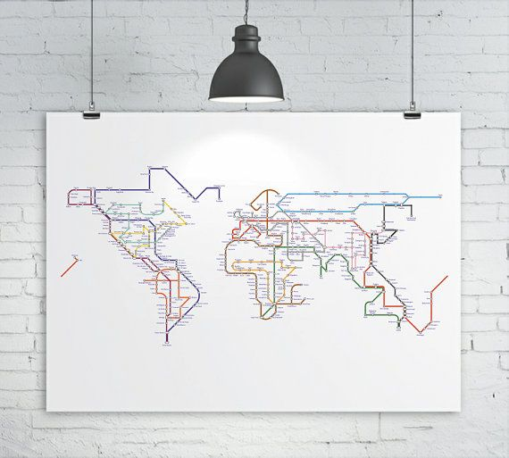 Subway map tube map metro map of the world 16x12 a3 17x11 subway map tube map metro map of the world 16x12 a3 17x11 19x13 world map art print subway map interiors and walls gumiabroncs Choice Image