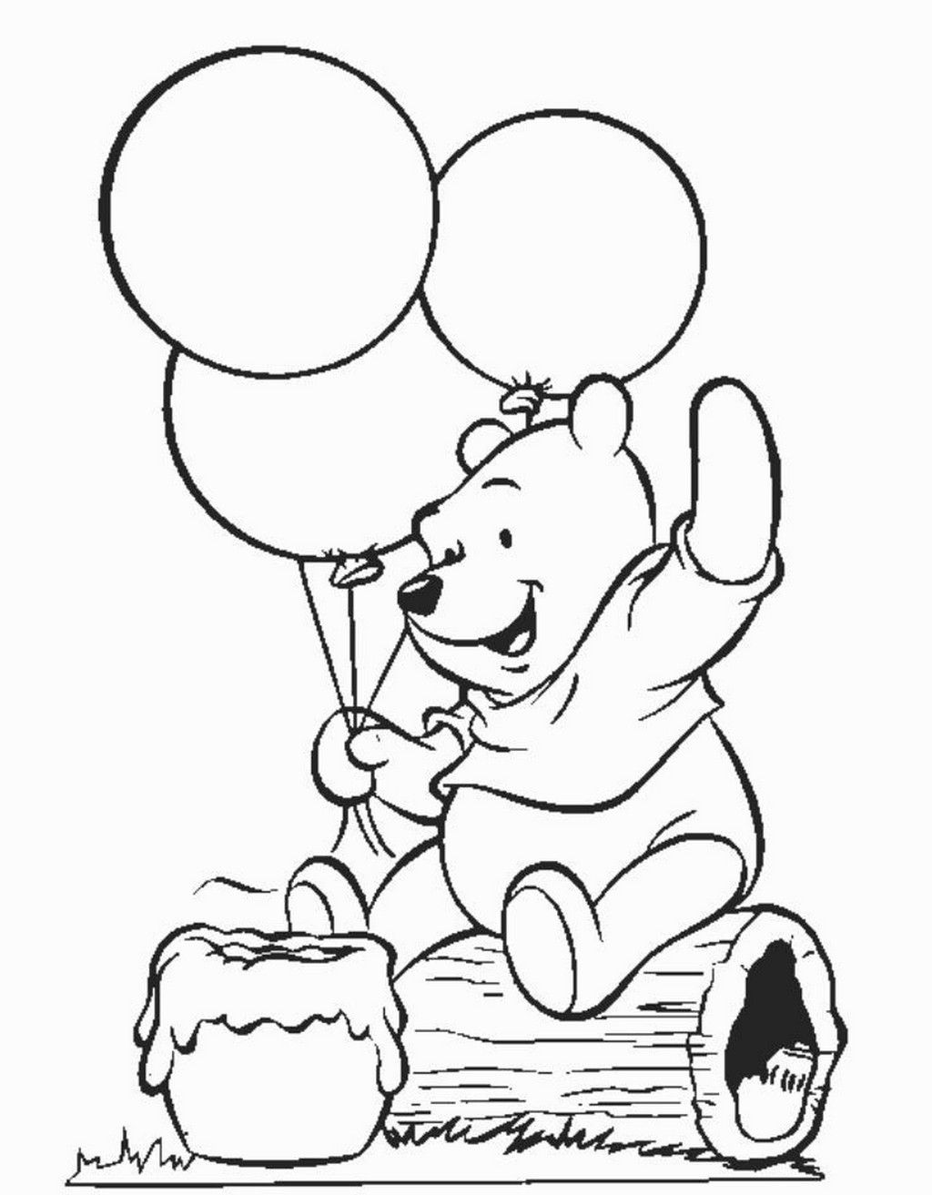 Winnie The Pooh Happy Birthday Coloring Pages