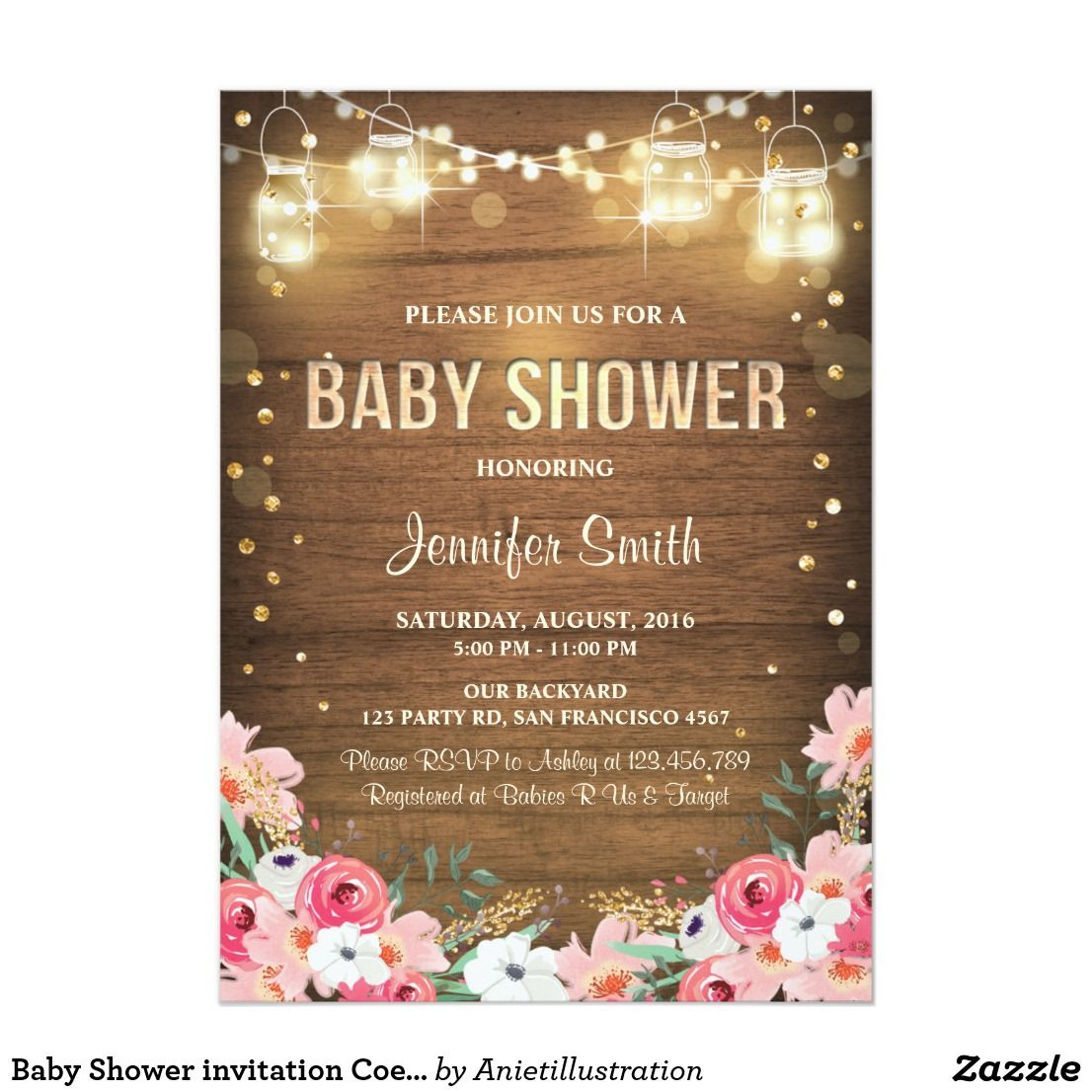 Shower invitation coed rustic floral garden baby shower invitation coed rustic floral garden filmwisefo Images