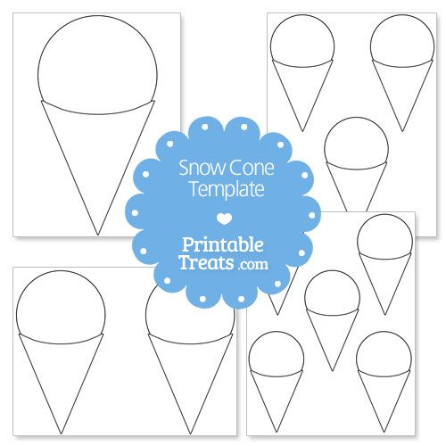Printable Snow Cone Shape Template Snow Cones Cone Template
