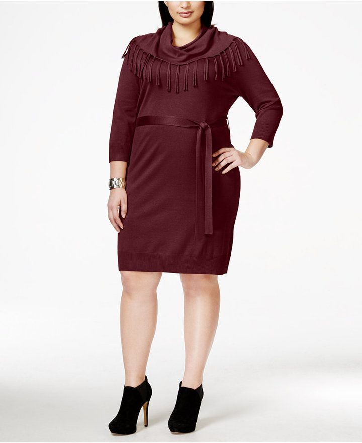 NY Collection Plus Size Fringed Cowlneck Belted Sweater Dress