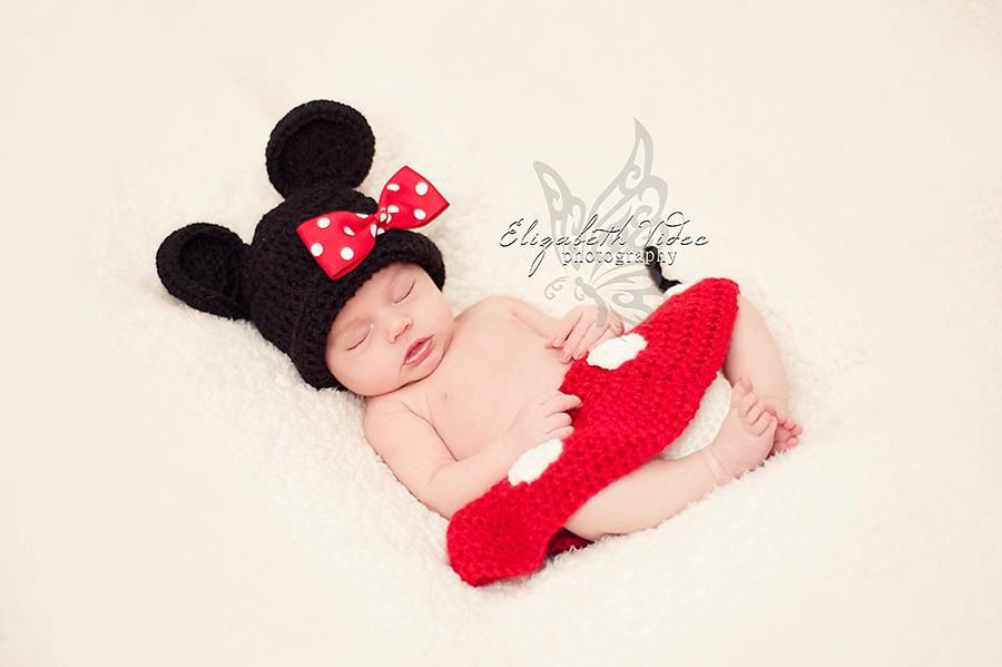 newborn minnie mouse hat with detachable hair clip diaper cover photo props photography - Baby Mickey Mouse Halloween Costume