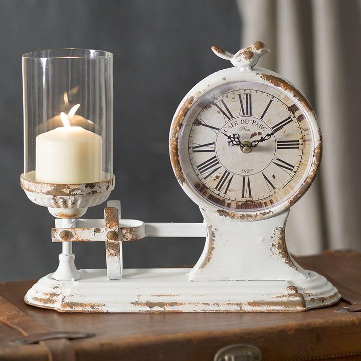 Distressed vintage candle holder and clock vintage
