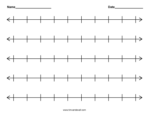 Printable Blank Number Line Templates For Math Students And Teachers Number Line Printable Number Line Math Template