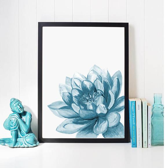 Lotus Flower Print Art Yoga Artwork Lotus Wall Decor Lotus Yoga
