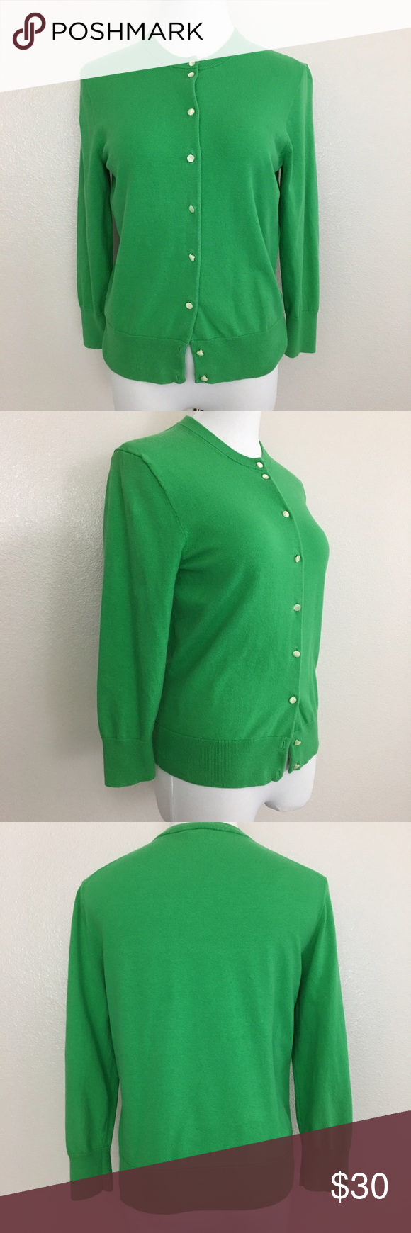 """J. Crew Jackie Cardigan, Classic, Green, Large J. Crew """"Jackie"""" classic cardigan in green color. Style #85613  Fabric is made of 66% cotton, 29% nylon and 5% spandex. Machine washable.  Size Large Armpit to armpit laid flat 18.5"""" Length 22"""" Approximate only.  Excellent condition.  No stains or holes. Freshly washed.  Stored in a smoke and pet free household.  Please see all pictures in details or ask any questions to avoid return.  Check out my store for other items on sale! J. Crew Sweaters…"""