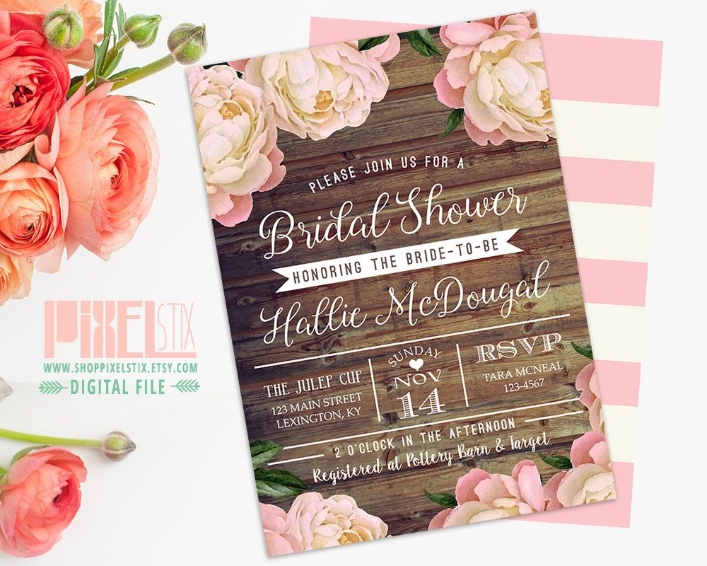 recipe themed bridal shower invitation wording%0A Rustic Bridal Shower Invitation  Vintage Peony Barn Wood Style  Pink and  Brown  Country