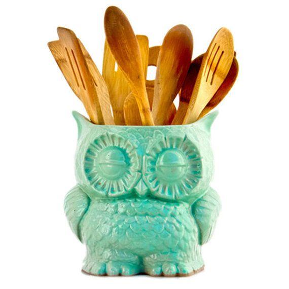 Dream Kitchen Utensils: Ceramic Owl Planter In MINT Large Vintage Style Home Decor