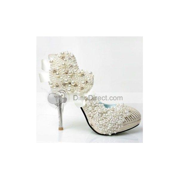Stylish Women Pearl High Heel Wedding Shoes - DinoDirect.com found on Polyvore