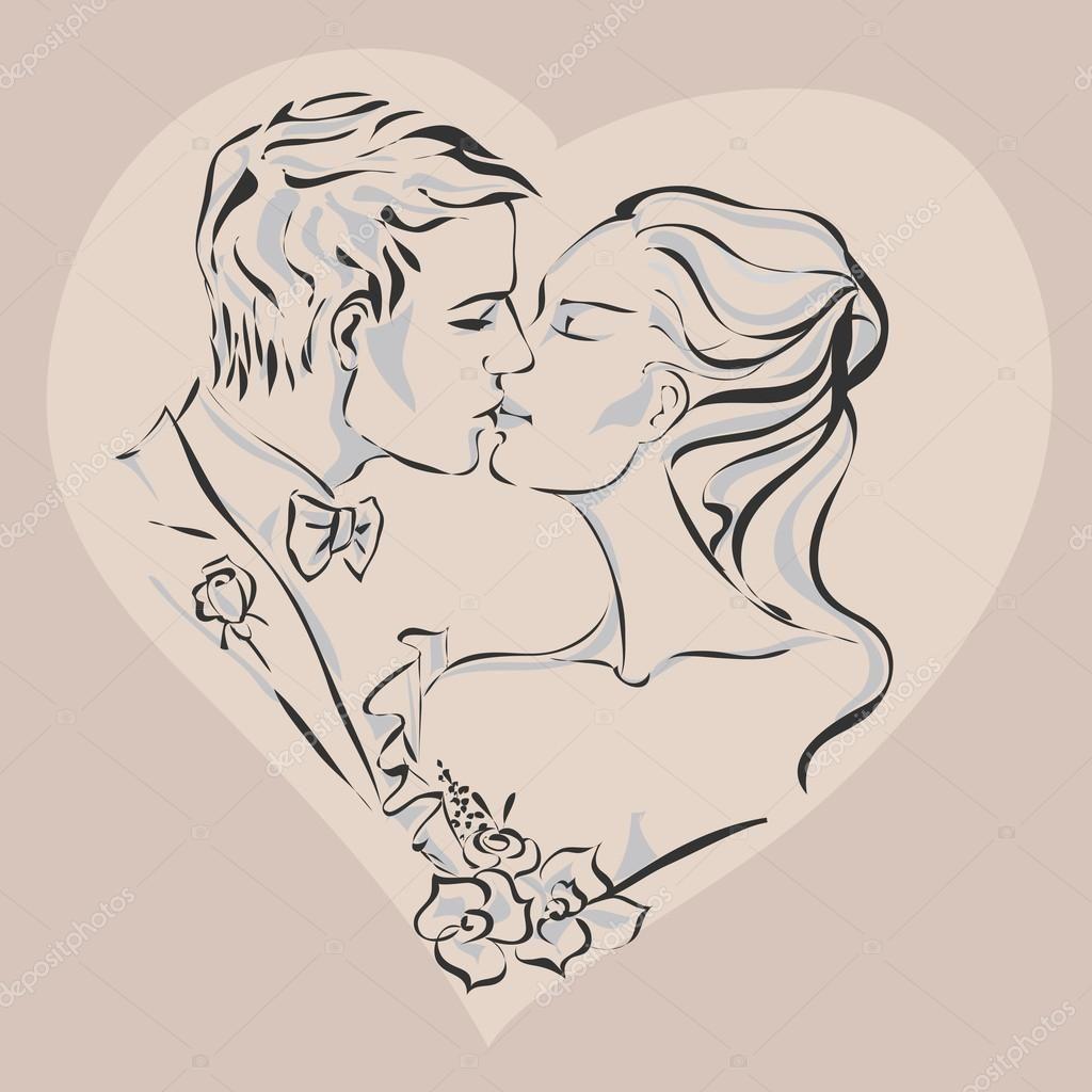 Mariage Invitation De Jour Avec La Mariée Et Le Marié Main Dessinée Illustration Vectorielle Illustration Vectorielle Illustration Dessin