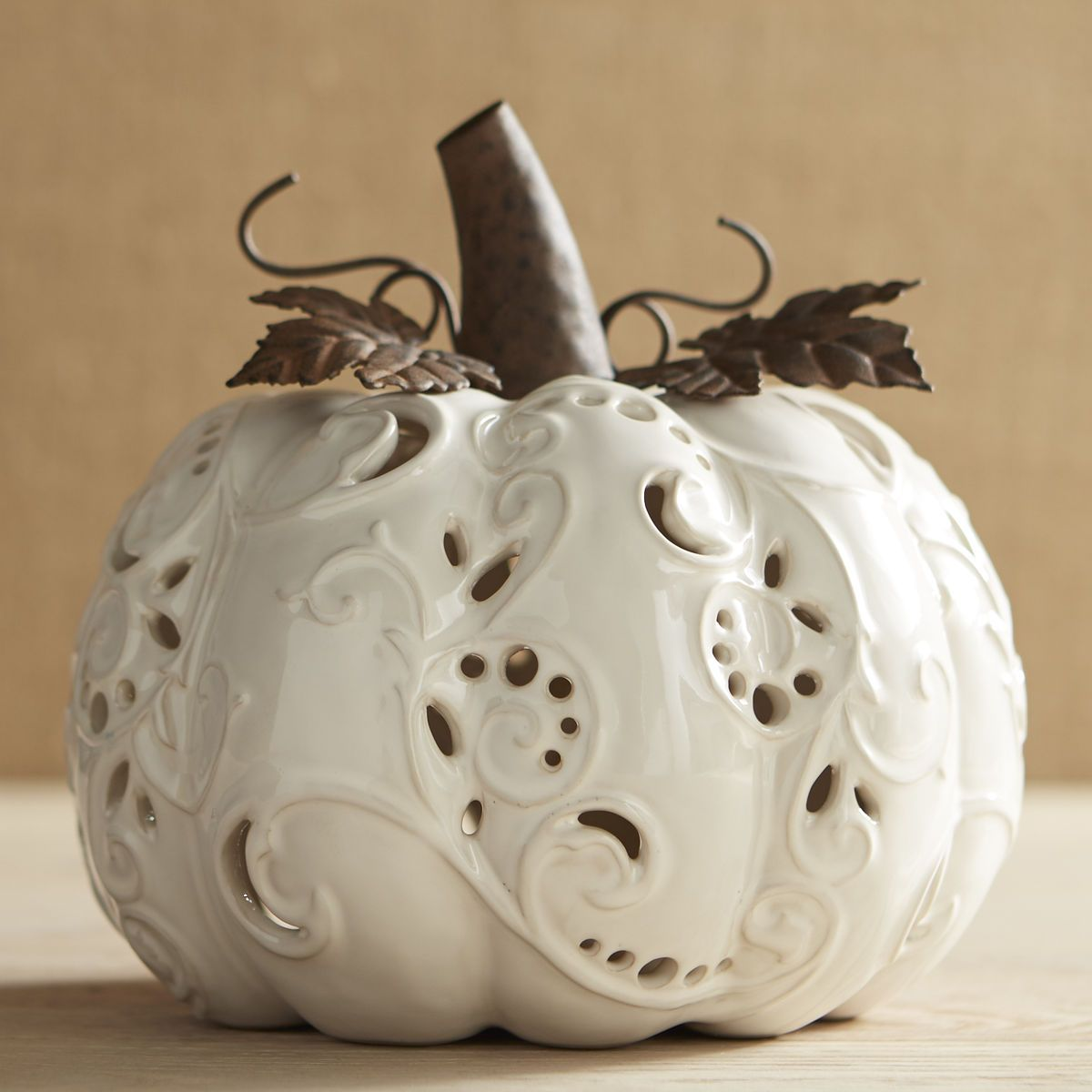 Large Ceramic Ivory Pumpkin Tealight Candle Holder Pier 1