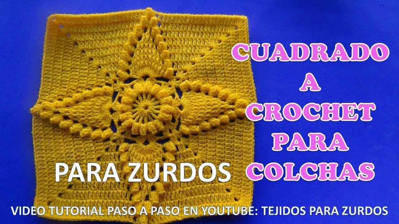Para ZURDOS CUADRADO A CROCHET EN PUNTO HOJAS EN RELIEVES y popcorn ...