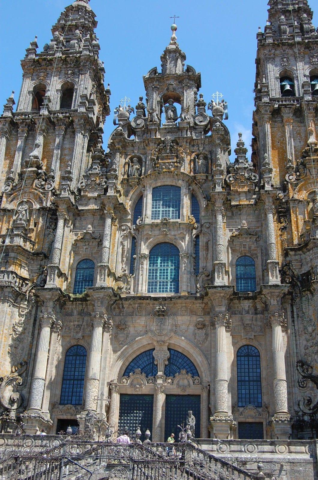 Espagne Facade Ouest Cathedrale Saint Jacques De Compostelles Lankaart Cathedrale Espagne Saint Jacques De Compostelle