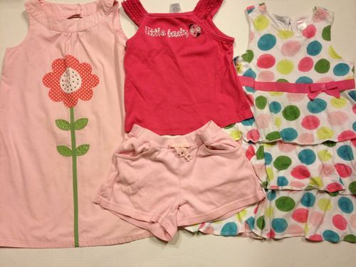 Girl Boutique Fashion Apparel Clothes 4 Pieces #Gymboree Size 7 Dresses Shorts Top Pink Floral Polka Dot Ladybug $30.99 Classicsncollectiblesbycheryl.com
