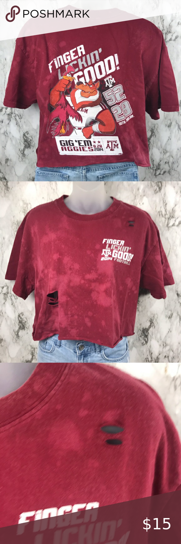 Texas A M Cropped Bleached Shirt Destroyed L In 2020 Shirts