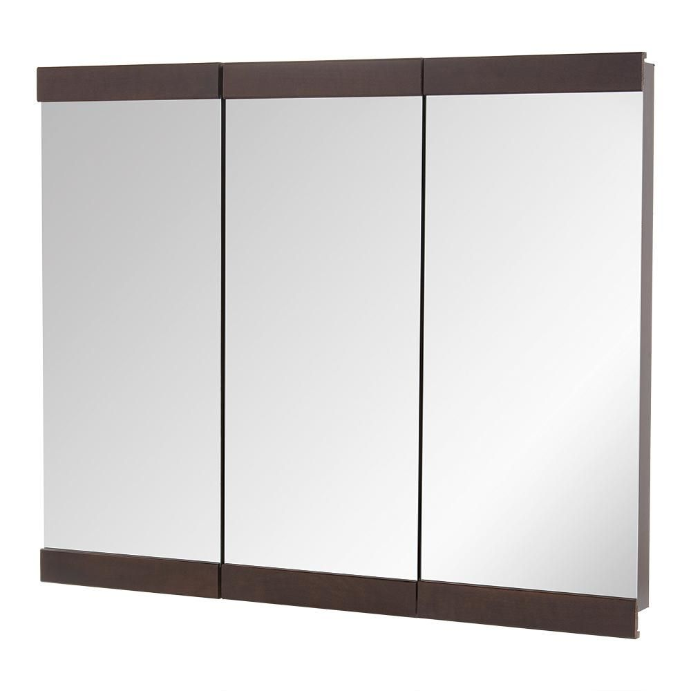 Home Decorators Collection 36 In W X 29 H Fog Free Framed Surface Mount Tri View Bathroom Medicine Cabinet Java