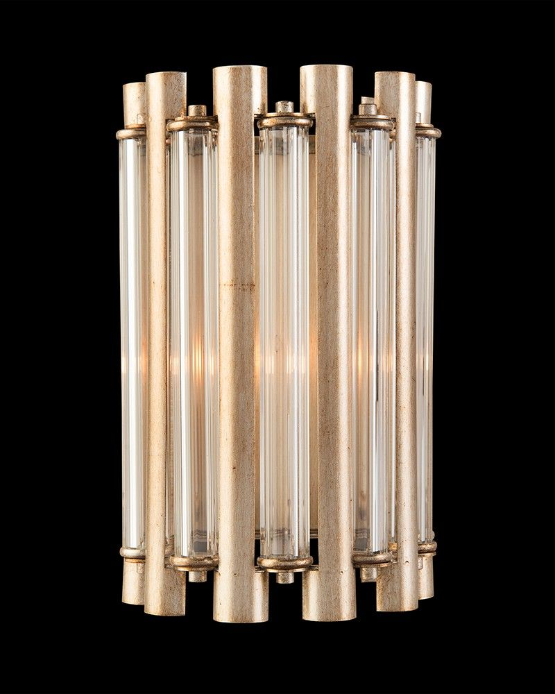 X A One Light Wall Coupe With Alternating Crystal And Silver Leaf S Candelabra Base 60 Watt Max 1 Type B Bulb Ttm Backplate