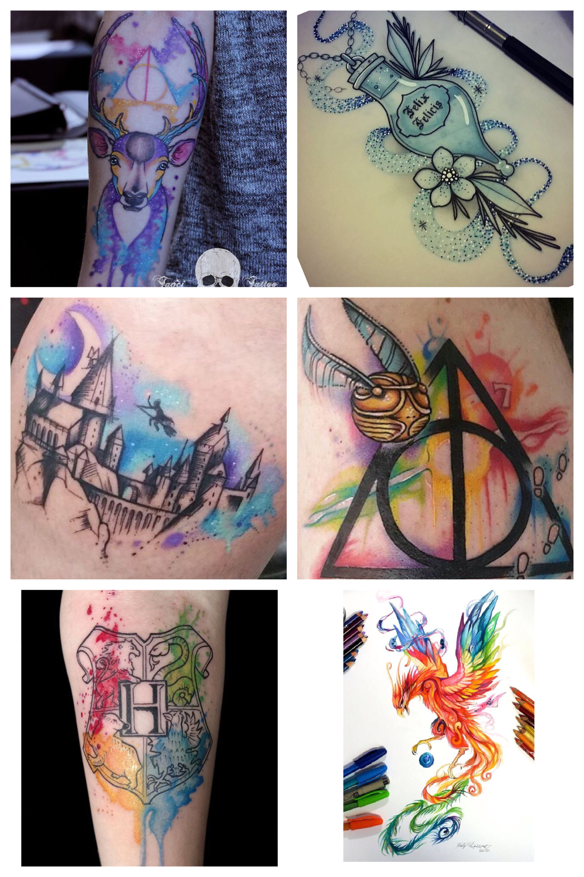Harry Potter Themed Sleeve Tattoo Designs Harry Potter Tattoos Tattoos Sleeve Tattoos