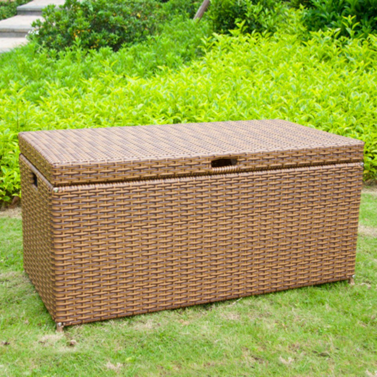 Jeco 40 In Outdoor Wicker Patio Furniture 65 Gallon Storage Deck