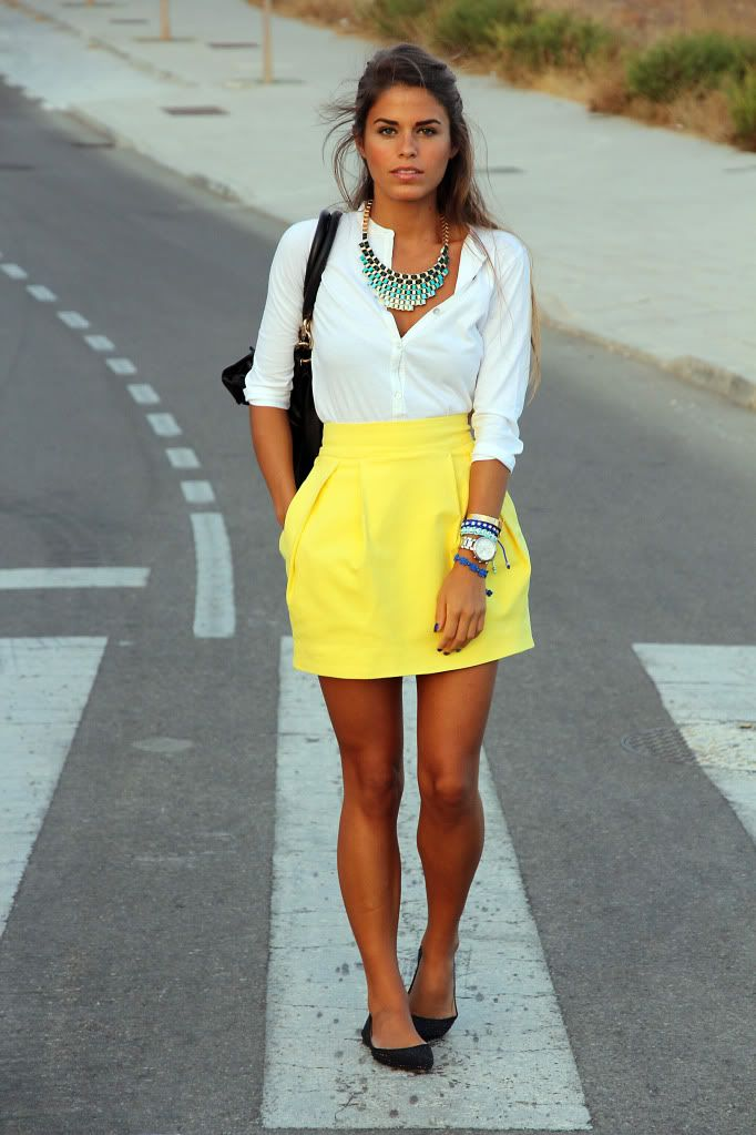 summer outfits womens fashion clothes style apparel clothing closet ideas  white shirts yellow skirt necklace shoulder bag casual