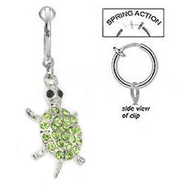 Amazon Com Fake Belly Navel Non Clip On Lt Green Paved Gem Cute