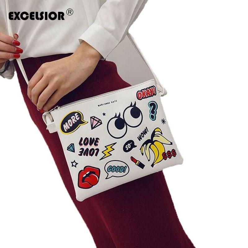 Excelsior 2017 hot cartoon graffiti gedrukt handtas mini crossbody schoudertas dame dagelijkse portemonnees koppelingen meisjes flap bag