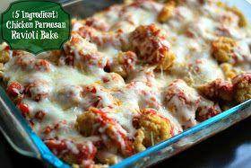 Aunt Bee's Recipes: {5 Ingredient} Chicken Parmesan Ravioli Bake