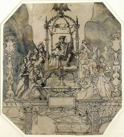 Hans Holbein the Younger (German, 1498-1543), Apollo and the Muses on Parnassus, 1533.