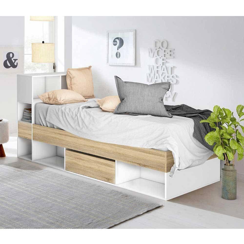 Funktionelles Jugendbett Mit Regal Schubkasten In Weiss Eiche Bayatara In 2020 Furniture Home Decor Home