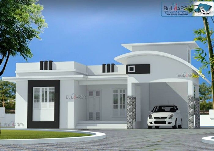 Simple and beautiful front elevation design modern for Single floor house elevations indian style