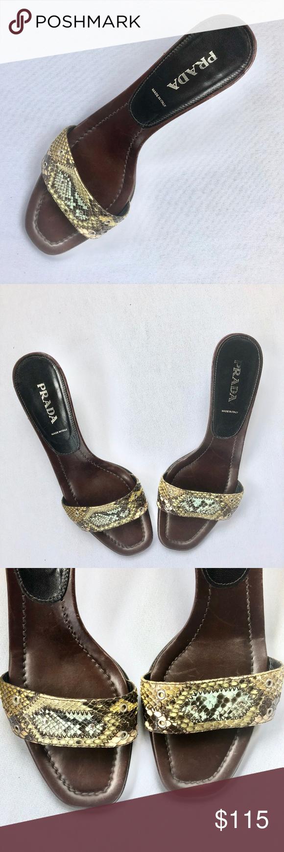 06c009ead99 PRADA Reptile Leather Slides Heels Sandals Brown in 2018