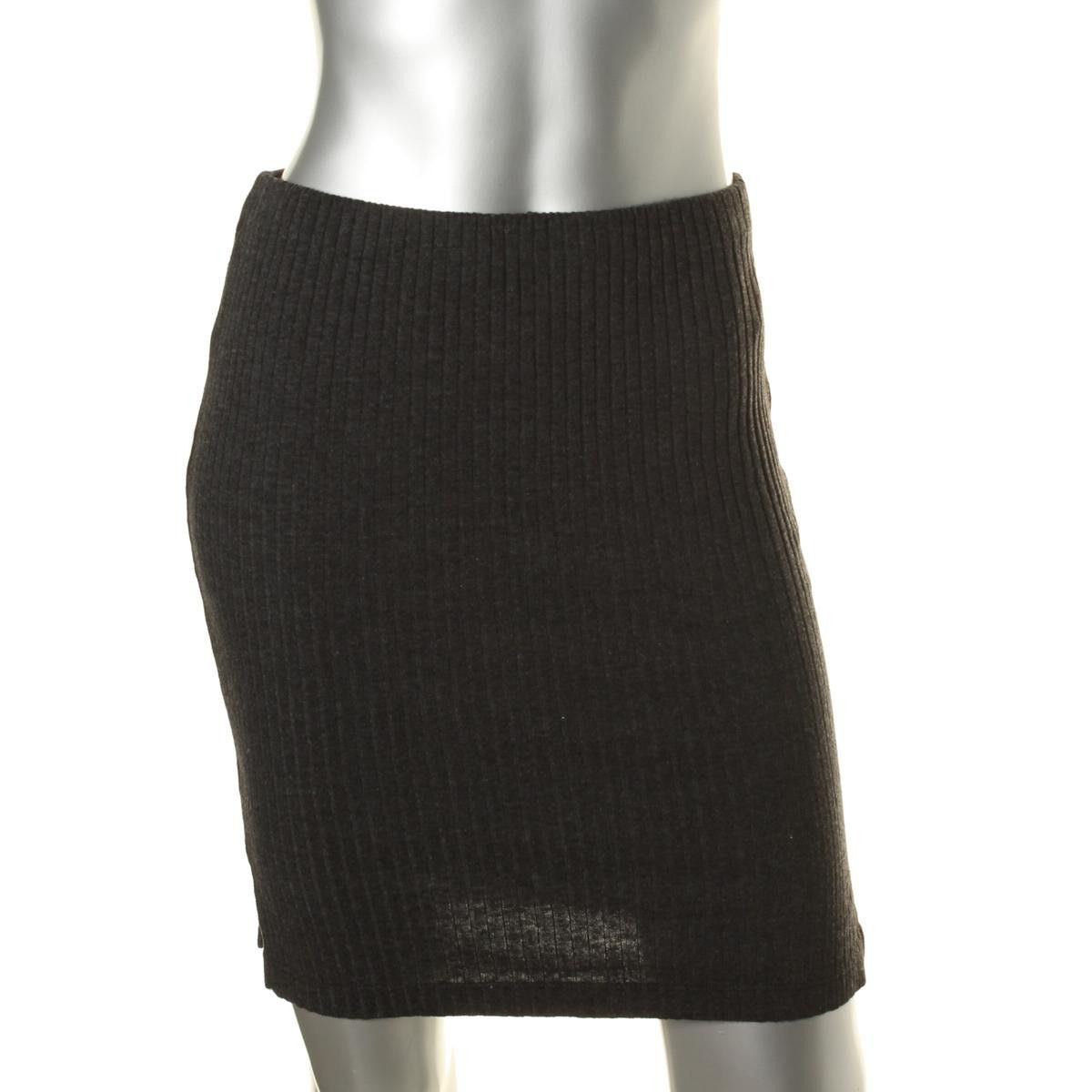 Three Dots Womens Ribbed Knit Split Sides Pencil Skirt