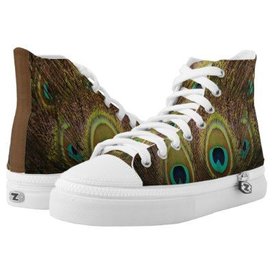 Beautiful brown and gold tinted peacock feather design.  Elegant and amazing high top shoes.