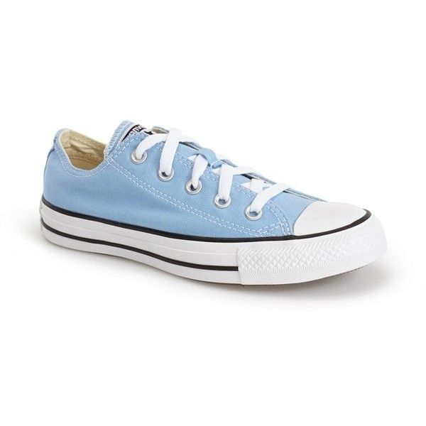 Converse Chuck Taylor All Star Sneaker (€34) ❤ liked on Polyvore featuring shoes, sneakers, blue sky, blue shoes, lacing sneakers, converse footwear, star sneakers and low tops