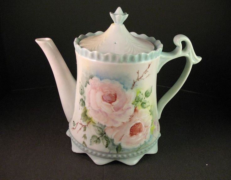 Hand Decorated Porcelain Teapot, Unmarked RS Prussia