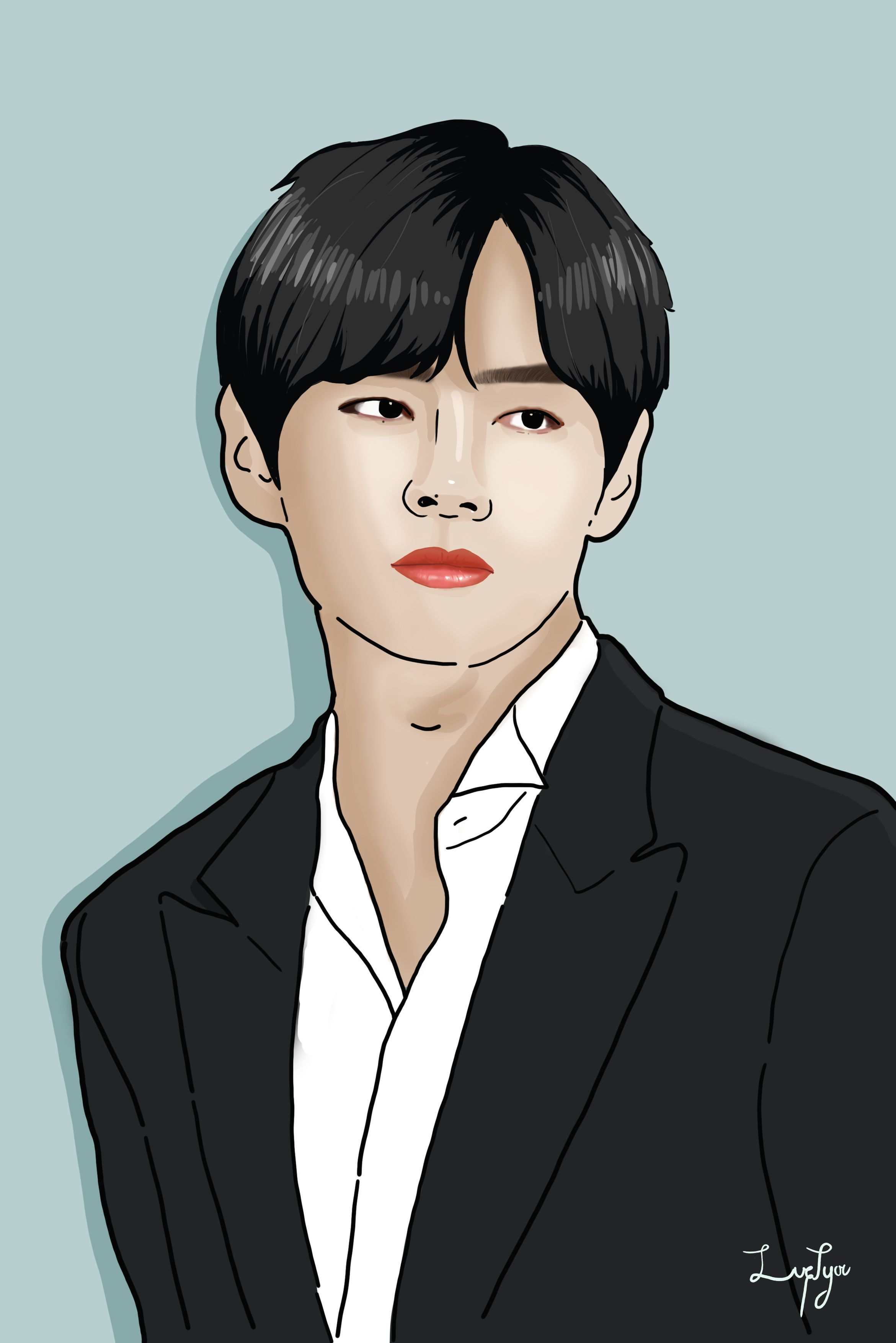 Bts Kim Tae Hyung Illustration Vector Portrait Illustration Diy Canvas Art Painting Diy Canvas Art