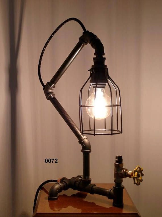 industrial pipe lamp caged lamp edison lamp desk lamp table lamp rh pinterest com