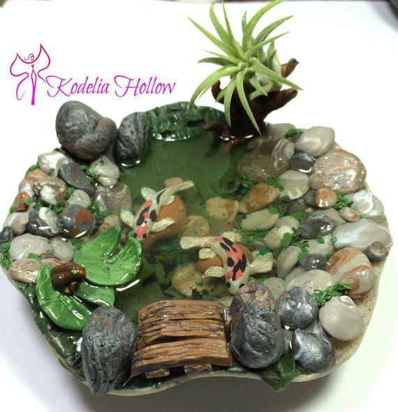 Koi teich polymer clay puppenhaus miniatur garten von for Clay fish pond