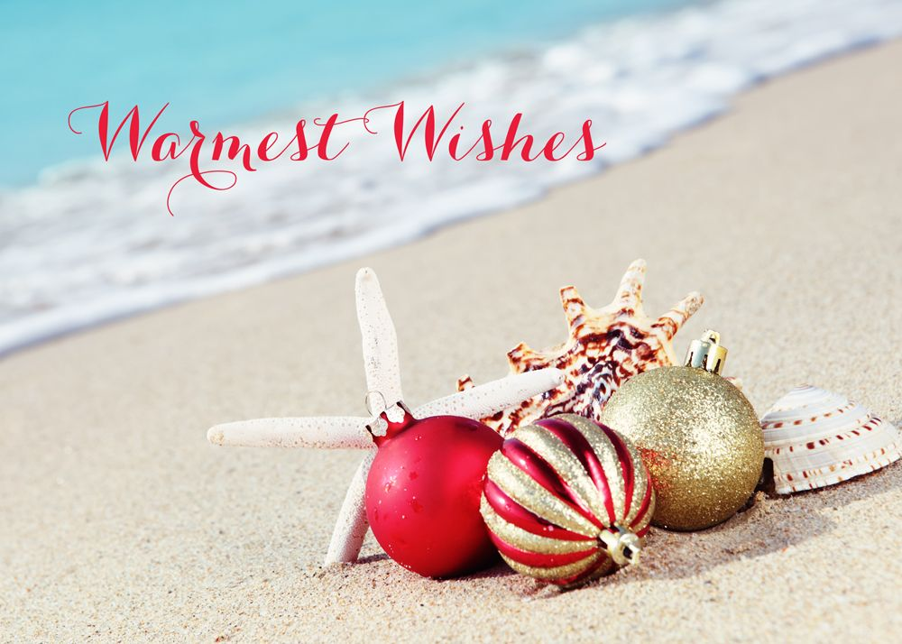 Red and gold ornaments have washed up ashore with the shells and st red and gold ornaments have washed up ashore with the shells and starfish a warm wish will be surely be received by all with this tropical christmas card m4hsunfo