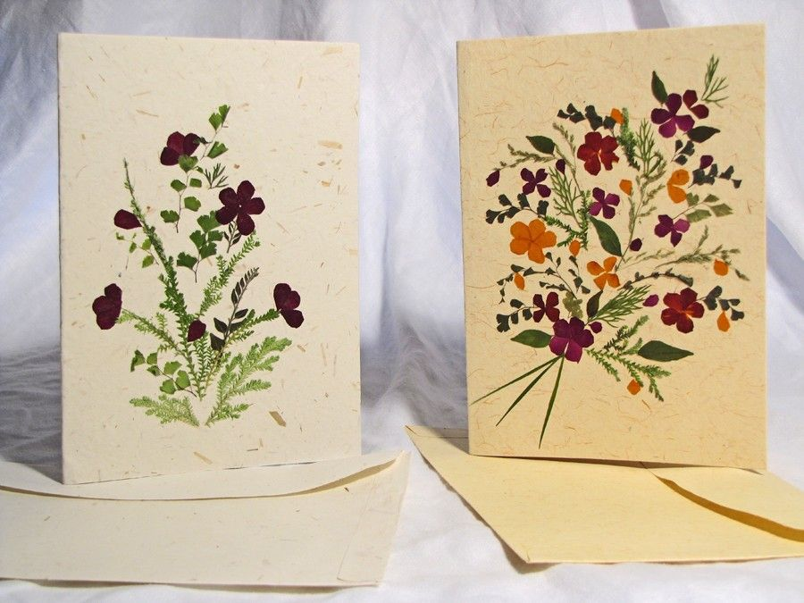 Dried flower stationary pressed flower greeting card for Handmade paper creations