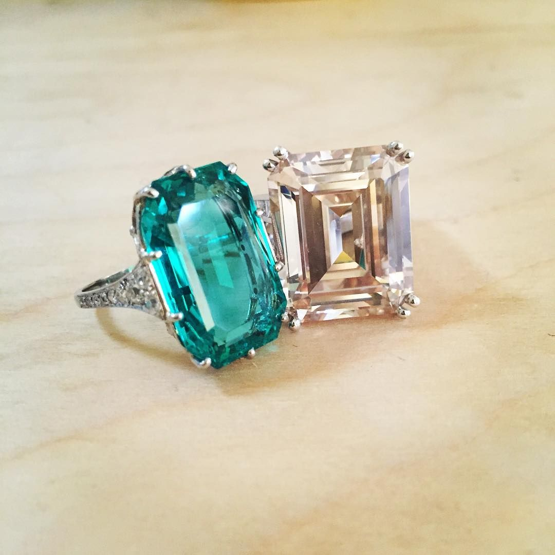 A 21.33ct step-cut Fancy Pink-Brown diamond, VVS2 clarity and a 14.70ct step-cut emerald, Colombian origin. Both for sale 4 December, #BonhamsLondon.