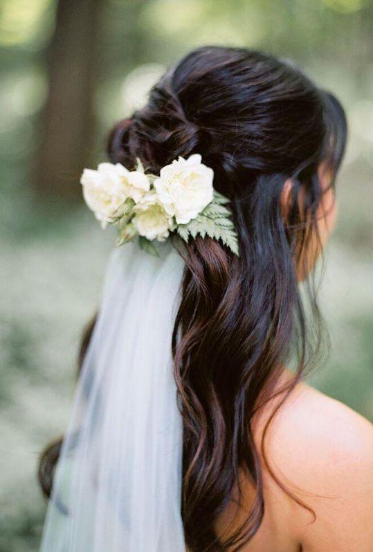 wavy long hair veil wedding hairstyle