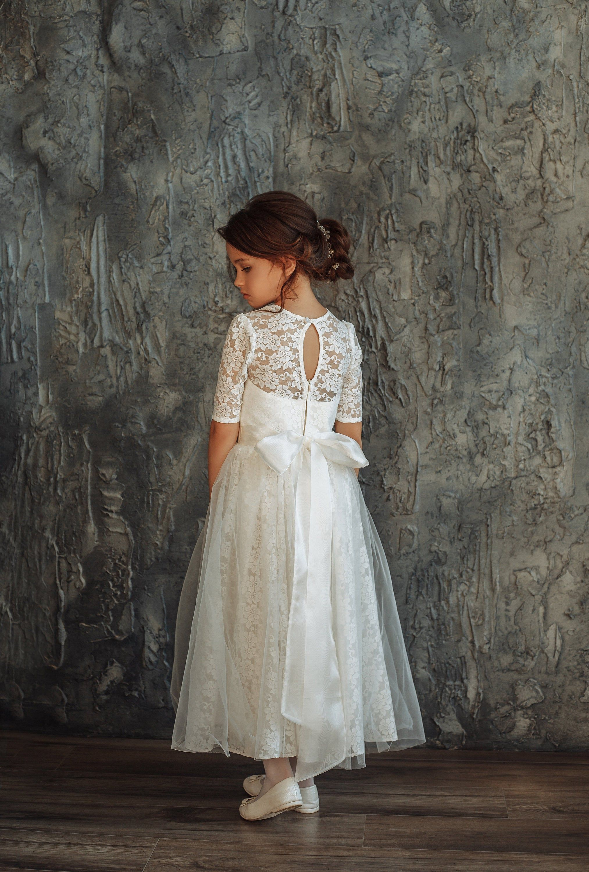 First communion girl dress ivory girl dress long sleeves