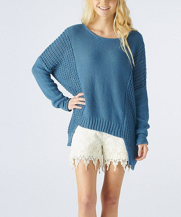 Take a look at this Blue Linen-Blend Dolman Sweater on zulily today!