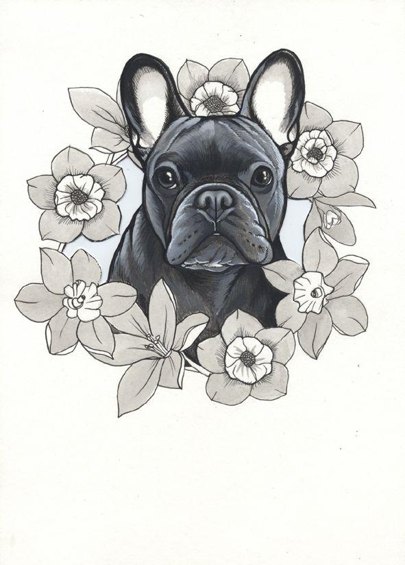 French Bulldog Tattoo Design , Frenchie Tattoo Design , sketchbook ...