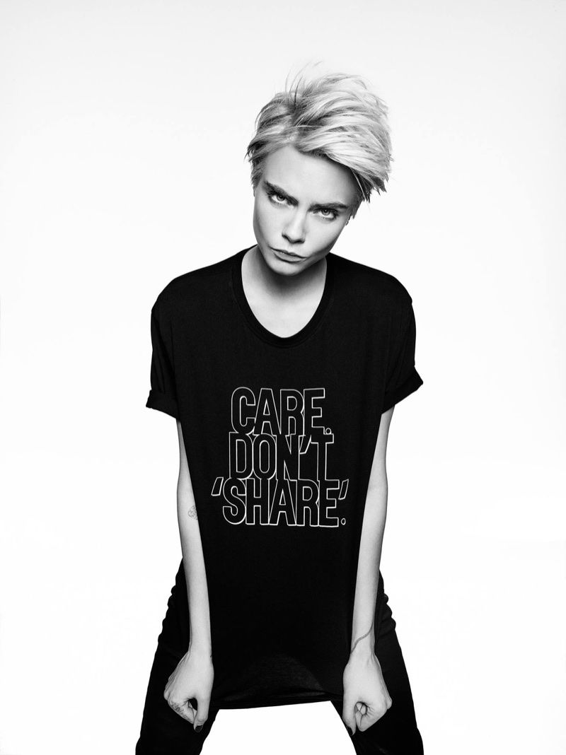 85a029e8dab75 Cara Delevingne poses in Armani Exchange Statement Tee campaign