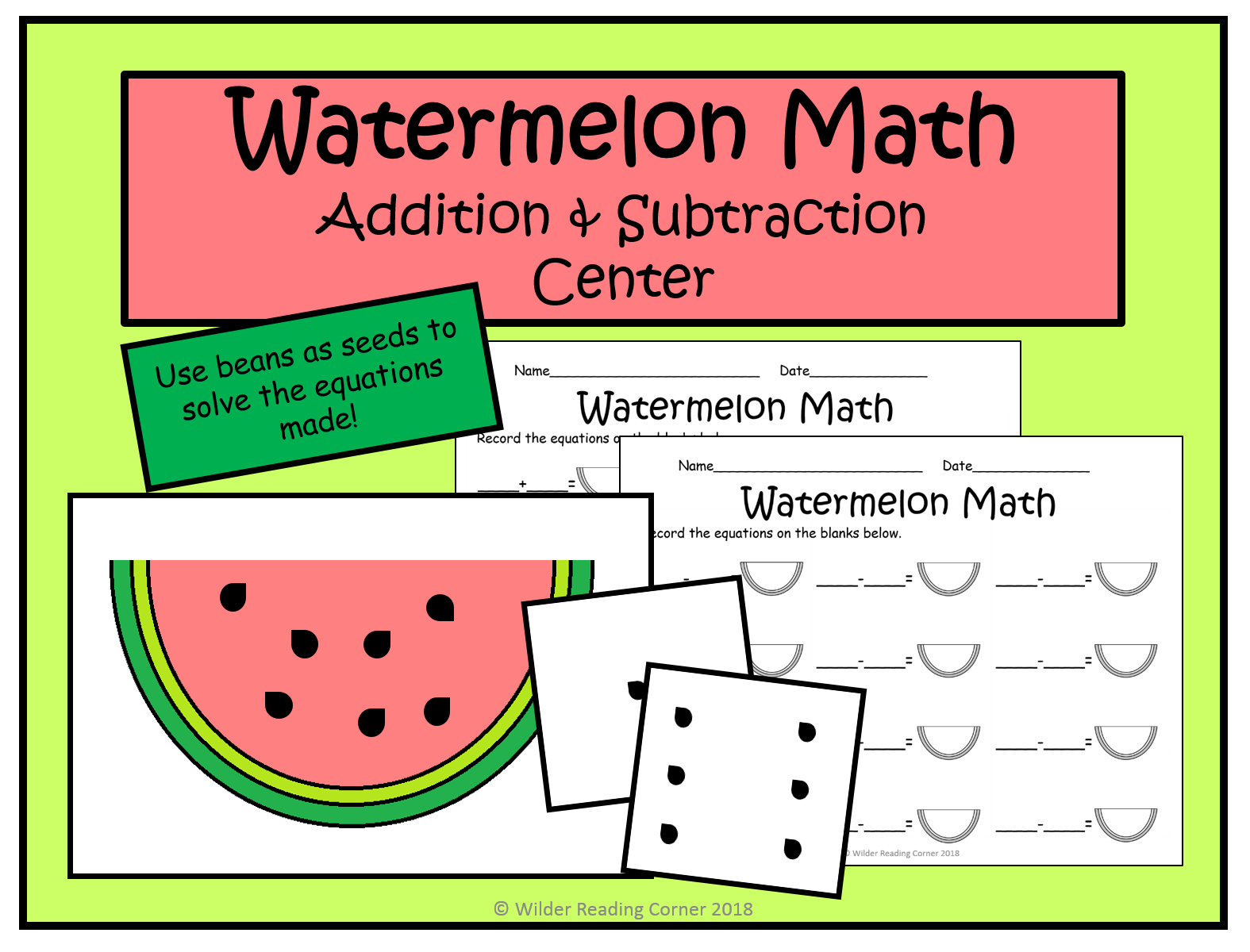 Addition And Subtraction Math Center Watermelon Math