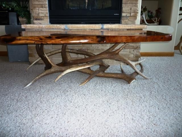 Elk Antler Coffee Table With Wood Slab Top Antlers Decor