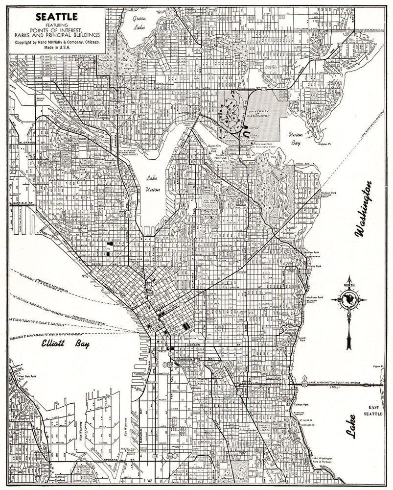 seattle map of seattle washington map black and white gallery